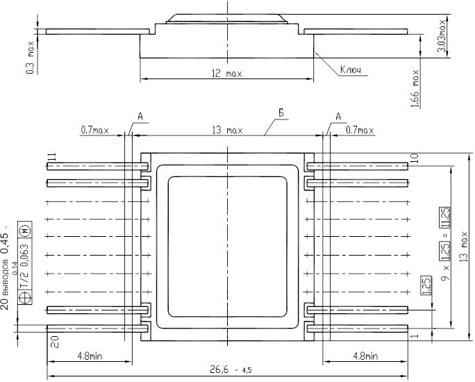 Общий вид, габаритные, установочные и присоединительные размеры 5559ИН73Т, 5559ИН74Т