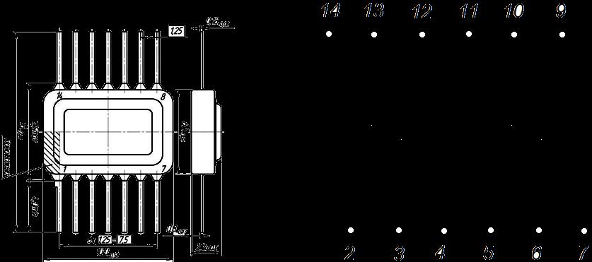 Рисунок 2 – Габаритный чертеж корпуса и цоколевка 2Т690АС