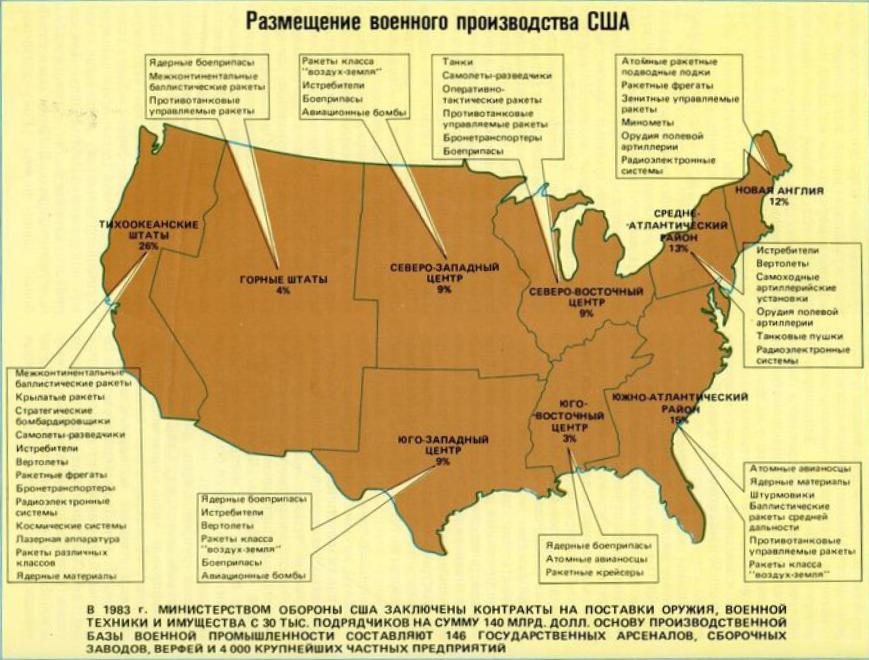 Размещение военного производства США
